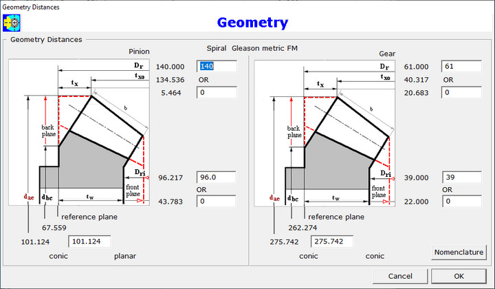 Geometry Distances Dialog
