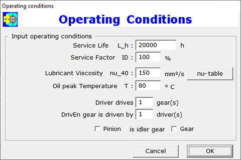 Operating Conditions Dialog Box