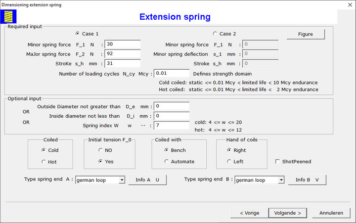 Extension Spring Design Dialog