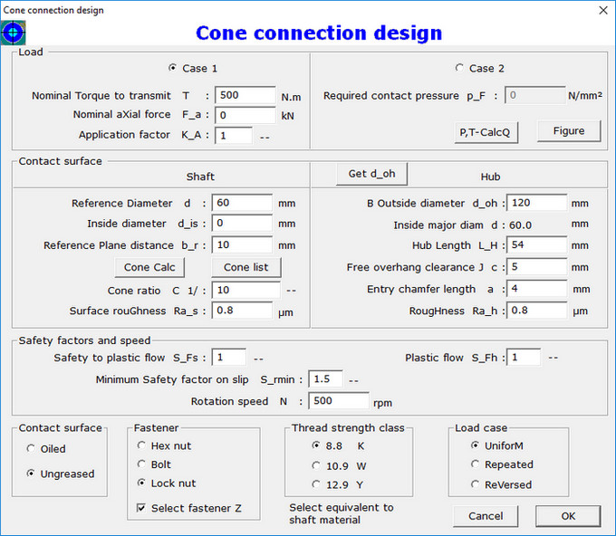 Cone Connection Design Dialog Box